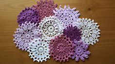 10 Purples and Whites Hand Dyed Vintage Crochet Doilies on Etsy, $7.50