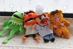 The Muppet Show plush puppet,Kermit the Frog,Fozzie Bear,drummer,Swedish 4PCS #TheMuppetShow