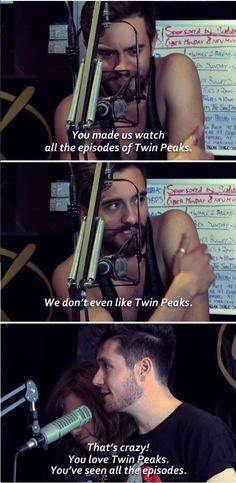 I'm not sure what show they're talking about, but this is still too funny :) (Dan Smith of Bastille)