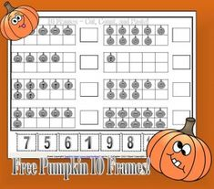 Free Pumpkin ten Frames from Teaching Heart