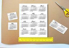 2017 Calendars Printable Mini, For Crafts, Planners, PDF File, 2017 calendar, calendars, Digital Download, Printable, Instant Download,