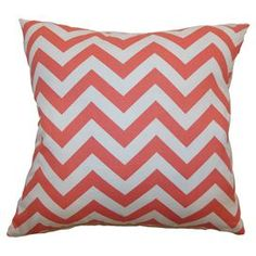 """Reversible cotton pillow with a chevron motif. Made in the USA.   Product: PillowConstruction Material: Cotton cover and down fillColor: Coral and whiteFeatures:Inserts includedHidden zipper closureMade in the USADimensions: 18"""" x 18""""Cleaning and Care: Spot clean"""