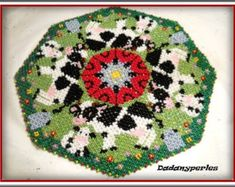12 pattern bead weaving doily of 15 to 25 cm ssed bead # 8 ou 9 different animals  with technical for learn danish weaving doily send pdf download