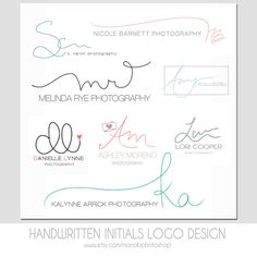 Custom Handwritten Double Initials Business Logo - photography watermark, simple, modern, elegant design @ParagonUS I dig KA NB and MR logos