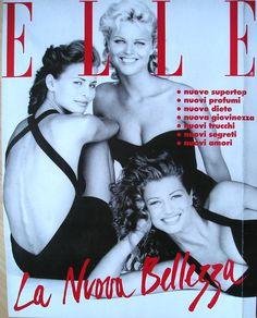 Niki Taylor, Eva Herzigova, Amber Smith  -  Elle Italia Dec 1992 by Marco Glaviano