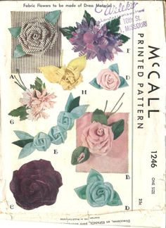 Fabric Flowers Pattern Decorations Flowers for Dress Blouse Scarf Wardrobe Decor Accessories Rose McCall 1246 Vintage Sewing Pattern Mccalls Patterns, Vintage Sewing Patterns, Fabric Patterns, Flower Patterns, Pattern Sewing, Craft Patterns, Dress Patterns, Sewing Ideas, Sewing Projects