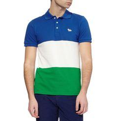 Maison KitsunéStriped Cotton-Piqué Polo Shirt