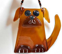 Brown dog suncatcher / ornament fused glass by janesglassart on Etsy