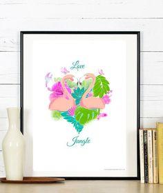 Affiche Jungle Flamante rose coeuramour