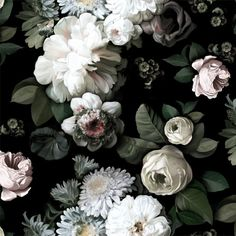 Dark Floral - Floral Wallpaper - by Ellie Cashman Design