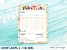 T-Shirt Order Form Templates Printable Floral, Custom Embroidery Business, Flower Ordering Sheet for Client, Letter Size, Instant Download