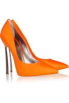 Metal-heel neoprene pumps by Casadei I really like This orange would gi well with jeans or a dress #fabulous