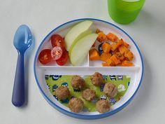 Albóndigas, camote, tomate y manzana