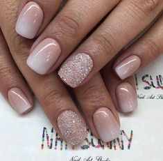 nude pink glitter nails #nailart #glitternails #nails #nude #nudenails