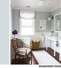 Traditional Home: Patricia Fisher Design - Cottage bathroom with white beadboard ceiling, schoolhouse . Decor, Traditional House, Favorite Paint Colors, Interior, Beautiful Bathrooms, Painting Bathroom, White Beadboard, Home Decor, Cottage Bathroom