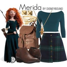Merida by leslieakay on Polyvore featuring Blondo, H&M, Bling Jewelry, Waterford, Mirabelle, ASOS, Merida, disney and disneybound