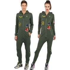 Onepiece Women Aviator Cotton French Terry Jumpsuit ($165) ❤ liked on Polyvore featuring jumpsuits, army green, olive jumpsuit, onepiece jumpsuit, olive green jumpsuit, army green jumpsuits and long sleeve jump suit