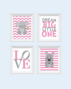 Kangaroo Nursery Art Baby Prints Pink Decor