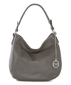 Love this Dark Gray Logo-Charm Leather Hobo on #zulily! #zulilyfinds