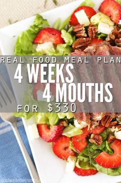 Monthly meal plan on a budget! Four weeks of meals (breakfast, lunch, dinner and dess . Monthly Meal Planning, Budget Meal Planning, Summer Meal Planning, Clean Eating Meal Plan, Clean Eating Recipes, Healthy Eating, Cooking Recipes, Healthy Food, Frugal Meals