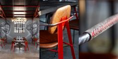 Mad Giant Craft Beer restaurant and brewery in Johannesburg. Interior and Furniture design by Haldane Martin. Photography by Micky Hoyle.   The dining chairs have rebar arms and legs, metal back and legs sprayed bright red with a Mad Giant emblem laser-cut into the back, with seats and seatbacks upholstered in distressed leather with red stitching.  Giant murals (by graffiti artist Nomad) with a playful, childlike aesthetic enhance the effect of a child's big dreams brought to life.
