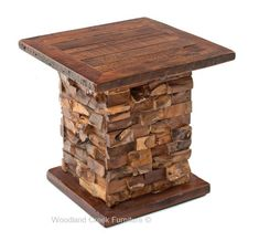 Rustic End Table with Stacked Wood Base