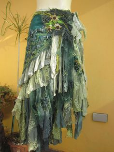 "vintage inspired mermaid bohemian wrap skirt/shawl...a work of art and love...42"" across"