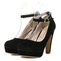 De gamuza color puro zapatos de tacón alto