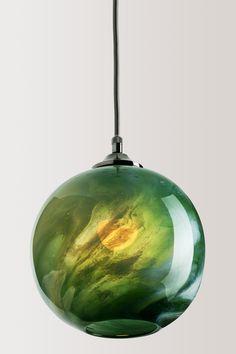 Illuminated Malachite Green Mineral Pendant