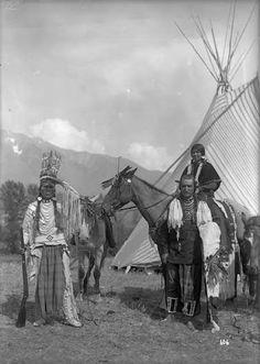 Sam Moody, Sam Finley, White Brant on horseback - Flathead - 1906
