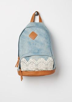 Crochet Front Denim Backpack   rue21