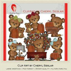 NEW Cloey Bear Loves Fall Season Clipart by Cheryl by marlodeedesigns, $1.25