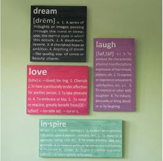 cute definitions of dream, love, inspire, and, laugh