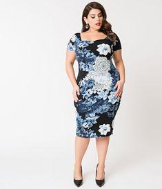 1dd40ef2a Unique Vintage Plus Size Black   Blue Floral Short Sleeve Harris Knit  Wiggle Dress Vintage Closet