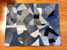 Upcycled Denim Mat Crazy Patch by gaorig on Etsy, $45.00