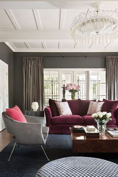 This living room ambience is a stunning combo of burgundy marsala and gray velvets. Could you do a Marsala Sofa? Burgundy Couch, Burgundy Living Room, Living Room Grey, Home And Living, Maroon Couch, Modern Living, Burgundy Bedroom, Maroon Living Rooms, Gray Bedroom