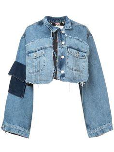Blue cotton mixed crop denim jacket from Natasha Zinko. #PatchworkDenim #DIYFashion #Up-cycledFashion #EcoFashion #RefashionIdea #DenimJacket #croppedJacket #FallFashion #WinterFashion #SewingIdea