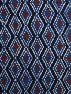 e84662dff0 Indigo Ivory Rust Black Ajrakh Hand Block Printed Cotton Blouse Fabric -  BPA012