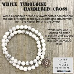 White Turquoise is a wonder stone for calming upset states of mind and emotion. White Turquoise decreases an overly critical state of mind, selfishness, stress, and anxiety, bringing calm and relaxation.  ………..It also stimulates romantic love.  ……      Energy Healing Yoga Chakra Reiki Beaded Stretch Bracelets Crystal Jewelry Mens. White Turquoise Cross.