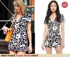 Taylor Swift's black and white floral romper. Outfit Details: http://wwtaylorw.com/3066