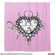 Shop Heart on pink Tattooed Shower Curtain created by MehrFarbeImLeben. Tattoo Artists, Create Your Own, Shower, Humor, Tattoos, Heart, Pink, Design, Rain Shower Heads