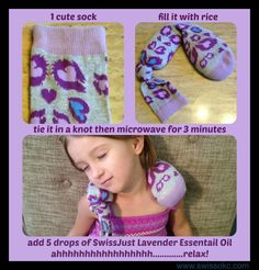 """I love this simple DIY heating pad/ice pack. Store it in the freezer in case you need it cold for a """"boo boo"""". If you want it warm just pop it in the microwave for 3 minutes and it will be nice and toasty! Don't forget to add your fave Essential Oil! www.swissokc.com This is also a great craft for kiddos!"""