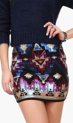 Aztec sequin skirt // awesome pattern design