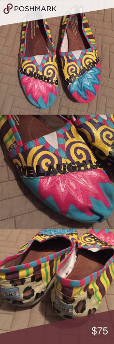 Cutest Toms EVER! Cutest, painted toms! They say Live, Laugh, Love with a variety of colors! They have slight wear but are in fantastic condition! TOMS Shoes Flats & Loafers