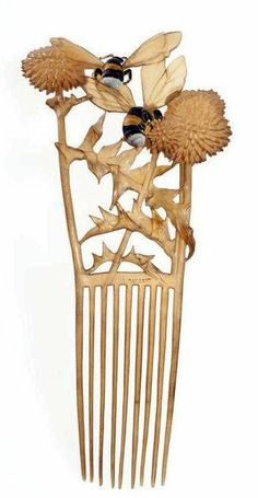 "Lucien Gaillard ""Bees"" comb enamel and horn 