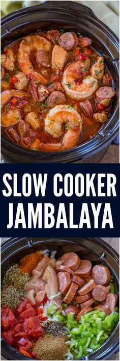 Slow Cooker Jambalaya with andouille sausage, chicken and shrimp cooked low and . - Slow Cooker Jambalaya with andouille sausage, chicken and shrimp cooked low and slow with bold spic - Crock Pot Recipes, Crockpot Dishes, Cajun Recipes, Crock Pot Slow Cooker, Crock Pot Cooking, Seafood Recipes, Dinner Recipes, Cooking Recipes, Healthy Recipes