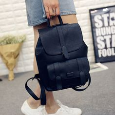 Vintage Toposhine Famous Brand Backpack Women Backpacks Solid Vintage Girls School Bags for Girls Black PU Leather Women Backpack 1523