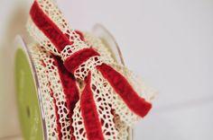Red Velvet and Crochet Ribbon 2 Yards by ShopKStudio on Etsy