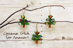 Tree Ornaments Made with Cinnamon Sticks, Pine Garland & Buttons