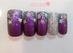 glitter ombre nail w/stars❤ by azusa #nailart #glitterombre